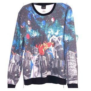 Crazy cat graphic sweatshirt